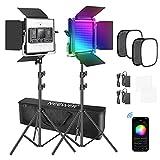 Neewer 2er Pack 480 RGB LED Licht mit APP Steuerung, Foto Videobeleuchtungsset mit Ständern und...