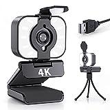Webcam mit Mikrofon, 4K UHD Eingebautes Ringlicht Streaming Webcams für PC, Webkamera mit Stereo...