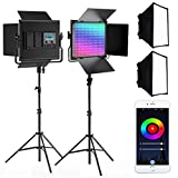 SAMTIAN RGB Videoleuchte 2 Pack Video Licht Kit mit Light Panel Softbox, App Control System, 360 °...
