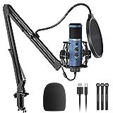 Peradix USB Mikrofon,PC Kondensator Mikrofon Gain Regler mit Stummschalter 192kHZ/24bit Studio...