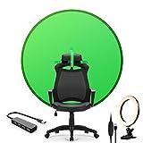Tragbarer Faltbarer Green Screen Hintergrund Fotografie Kulissen 4.65FT mit Ringlicht und USB-Hub...