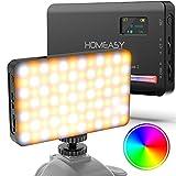 HOMEASY RGB Videoleuchte LED Kamera Licht Mini USB Wiederaufladbarem Dauerlicht mit Diffusor...
