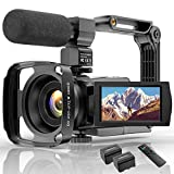 Videokamera 4K WiFi Full Hd Video Camcorder mit Mikrofon YouTube Vlogging Digitalkamera,IR Nacht...
