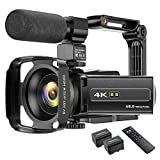 4K Camcorder Videokamera WIFI 48MP IR Nachtsicht Vlogging Kamera, 16 x Digital-Zoom Video-Rekorder...