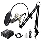 TONOR XLR zu 3,5 mm Kondensator Mikrofon Kit Microphone mit 48V Phantomspeisung, Mikrofon Set,...