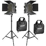 Neewer 2 Stücke Bi-Farbe 660 LED Videoleuchte und Ständer-Kit: (2) 3200k-5600K CRI 96+ Dimmabres...
