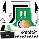 HAKUTATZ® Profi Fotostudio Greenscreen Set 4X Hintergrundstoff (schwarz, weiß, grün)...