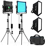 Video Licht mit Light Stativ Softbox 2 Packs, CRI 96 + Dimmbares zweifarbigs...