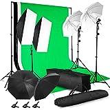 MVPower Profi Fotostudio Set inkl. 2 x 3m Hintergrundsystem mit 1.6 x 2m Reiner Baumwolle...