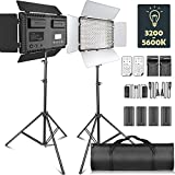 LED Video Licht, SAMTIAN Dimmable 2 Stück Bi-Farbe 600 LED Video: 3200K-5600K LED-Panel-Leuchte mit...