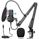 USB Mikrofon mit ständer, Professioneller Kondensator Studiomikrofon,Stoßdämpferhalter und...