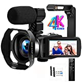 Videokamera Camcorder 4K Ultra HD 48MP IR Nachtsicht Vlogging Kamera 18X Digitalzoom Camcorder mit...