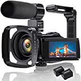 4K Videokamera Camcorder Ultra HD 48MP WiFi IR Nachtsicht-Vlogging-Kamera für 3' IPS-Touchscreen...
