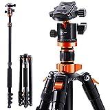K&F Concept 200cm Stativ, S210 Aluminium Kamera Stativ, Reisestativ mit Einbeinstativ, Fotostativ...