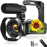Videokamera 4K 48MP Camcorder mit WiFi 3,0-Zoll Touchscreen Nachtsicht Videokamera mit...