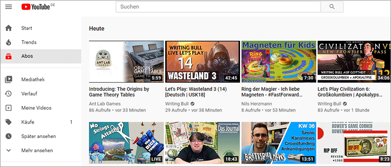 YouTube-Abonnenten Feed