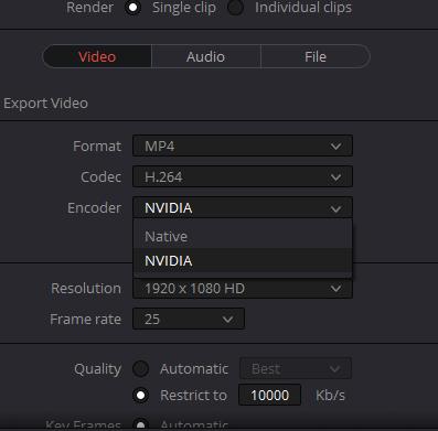 Rendern von Videos in Davinci Resolve mit NVENC