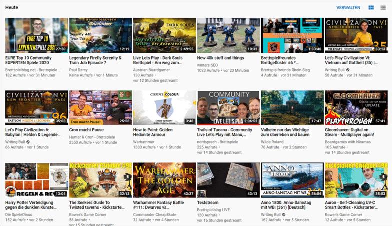 YouTube Thumbnail Überblick
