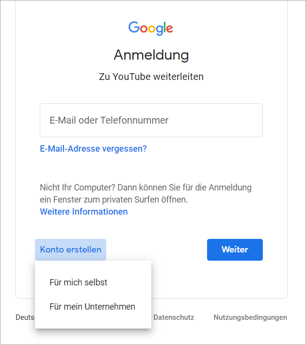 Bei YouTube anmelden > Google Konto erstellen - Schritt 1