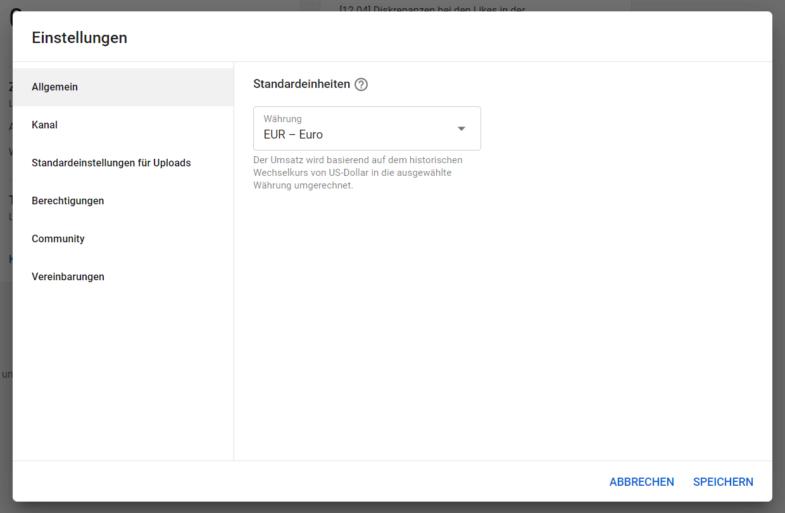 YouTube Kanal Einstellungen - Währung