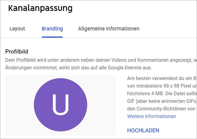 YouTube Logo hochladen