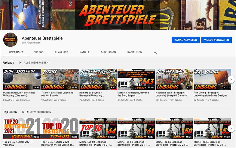 YouTube Kanal Startseite - Beispiel