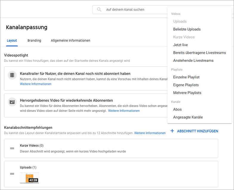 YouTube Startseite - Kanalabschnittempfehlungen