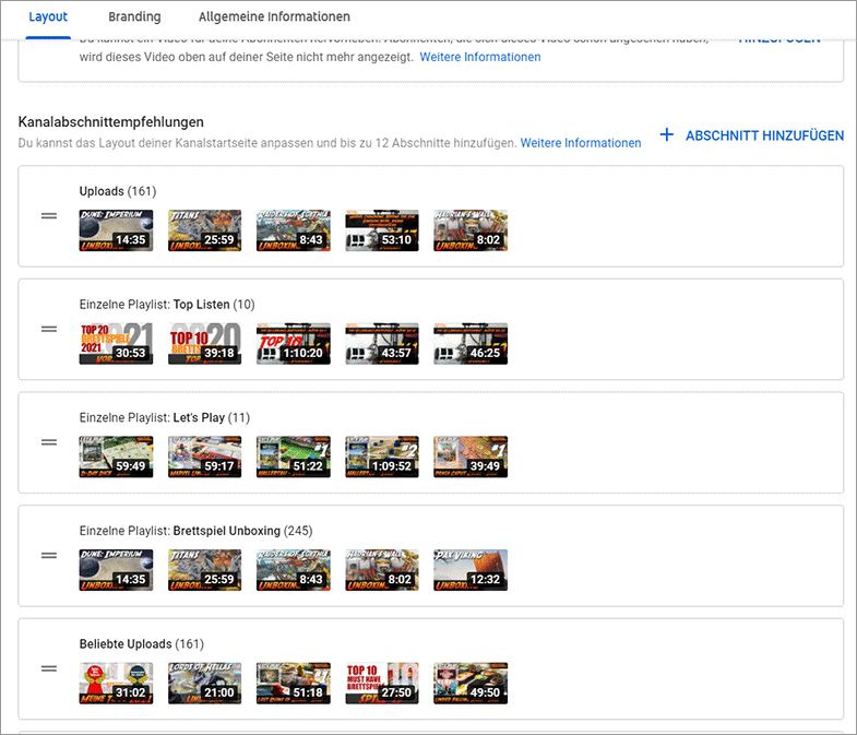 Youtube Kanal Startseite Playlists