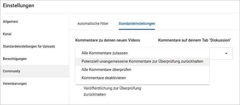 Negative Kommentare moderieren auf Youtube