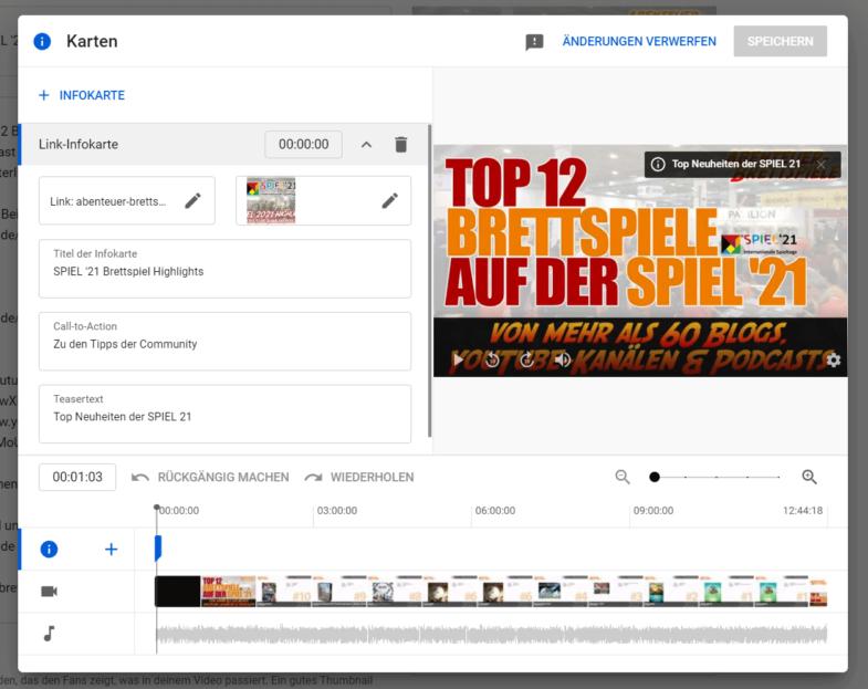 Link Infokarten - YouTube Video